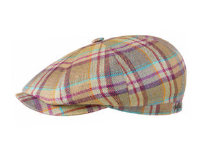Stetson Linen Baker Boy Cap in Multicolour Checks