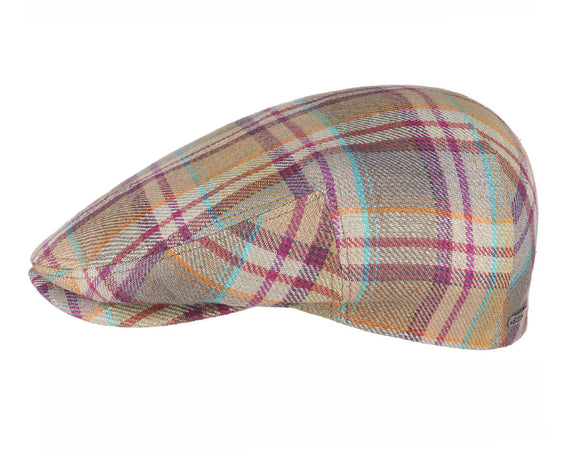 Stetson 'Kent' Linen Flat Cap in Multicolour Checks