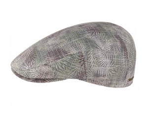 Stetson 'Kent' Palm Pattern Flat Cap in Olive