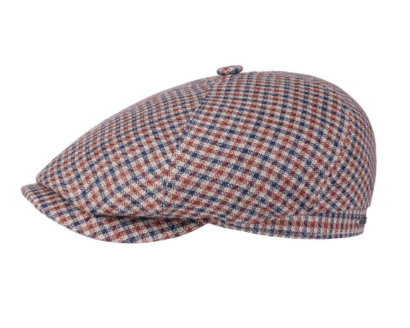 Stetson 'Varysburg' Linen Baker Boy in Brown and Blue Check