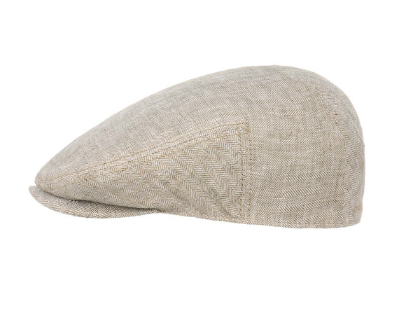 Stetson 'Woodfield' Linen Flat Cap in Oatmeal Herringbone