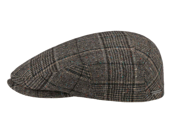 Stetson 'Kent' Wool Flat Cap in Grey Houndstooth Check