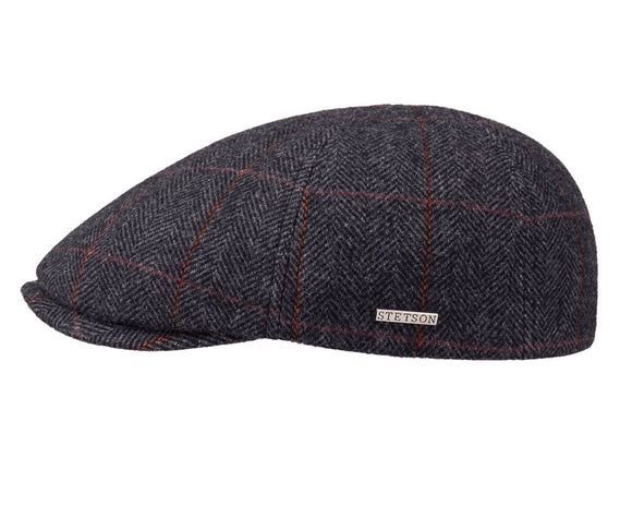 Stetson 'Texas' Flat Cap in Grey Windowpane Check