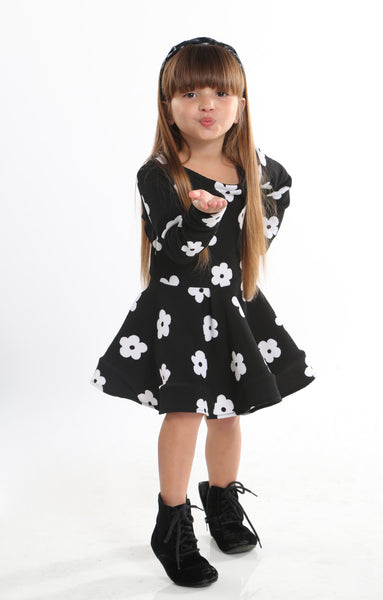 cdf383a7d65f Baby Black Dress With White Flowers. Avaloo Boutique
