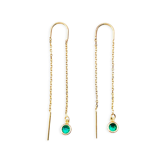 Birthstone Threader Earrings - Gold