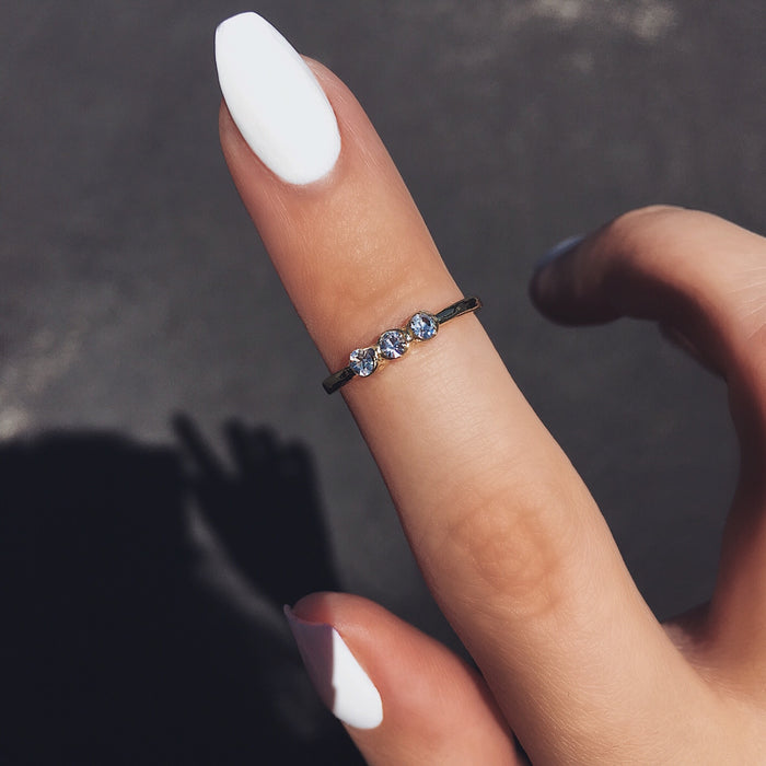 Triple Crystal Midi Ring