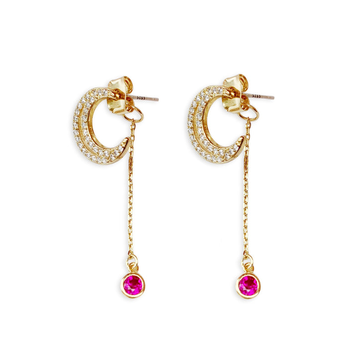 Birthstone Crescent Drop Earrings