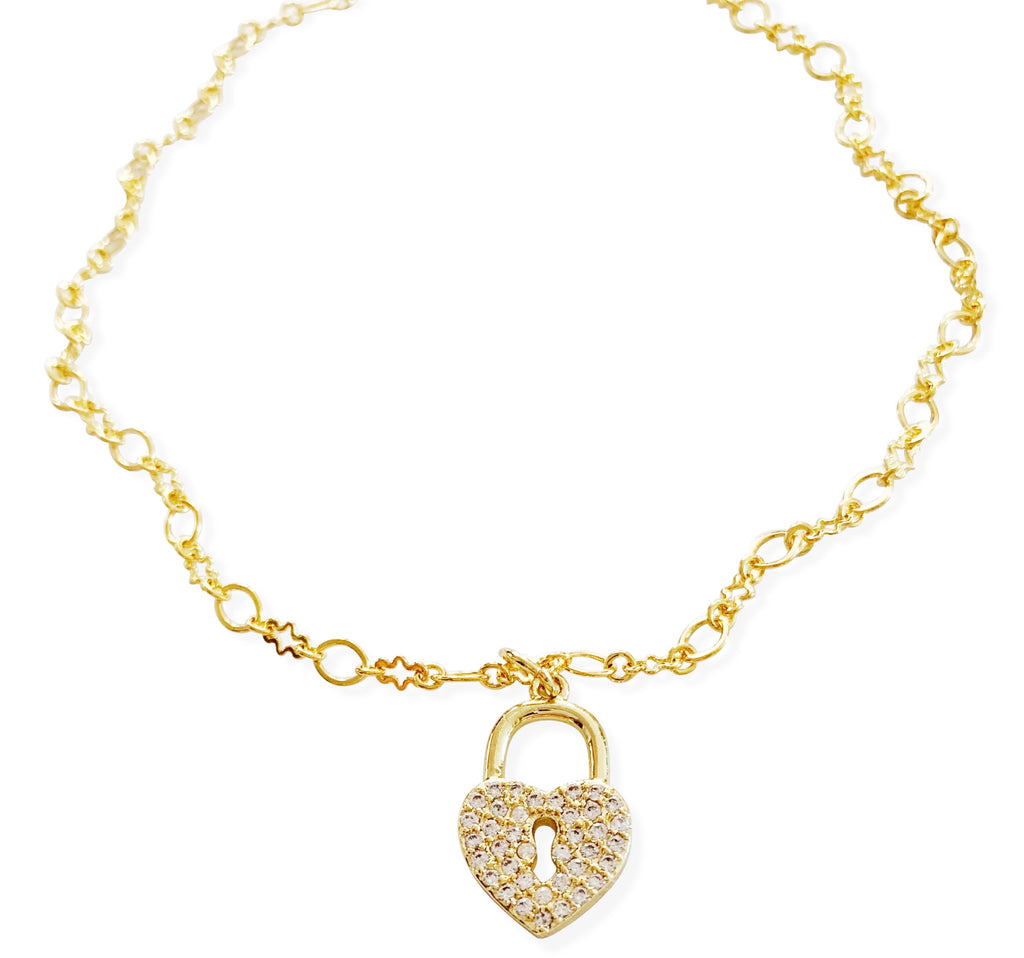 Gold Pavé Heart Lock Anklet