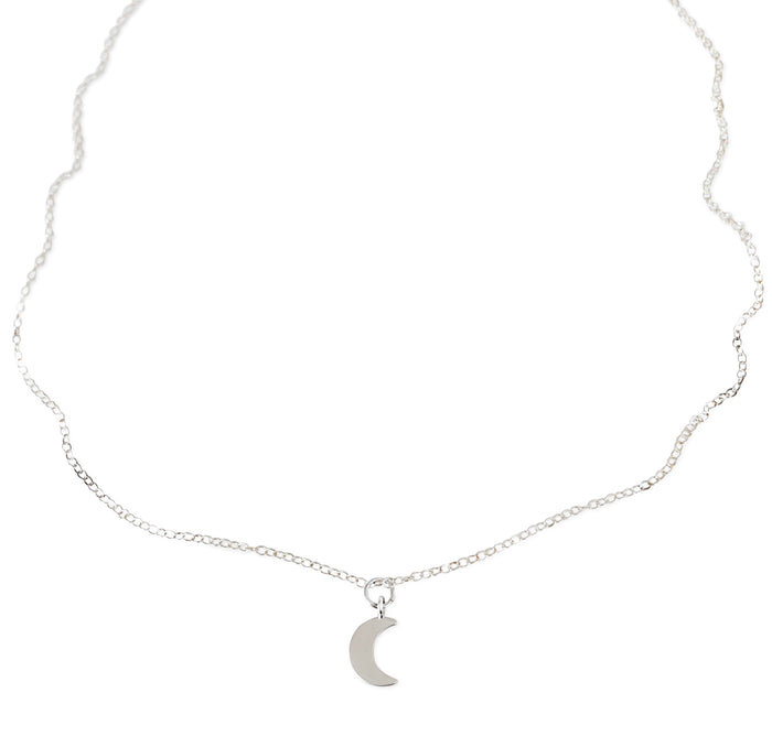 Simple Crescent Necklace - Silver