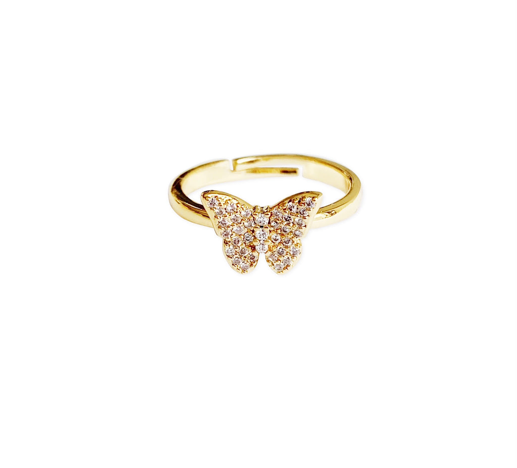 Gold Pavé Butterfly Ring
