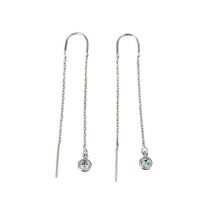 Birthstone Threader Earrings - Silver