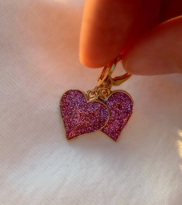 Purple Glitter Heart Earrings