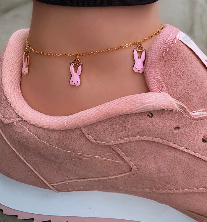 Pink Bunny Anklet