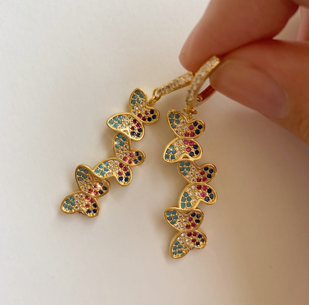 Rainbow Butterfly Earring Set