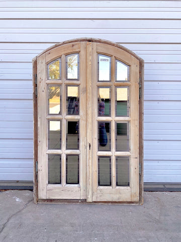 Antique 16 Pane Arched Natural Wood Window & Shutter Set