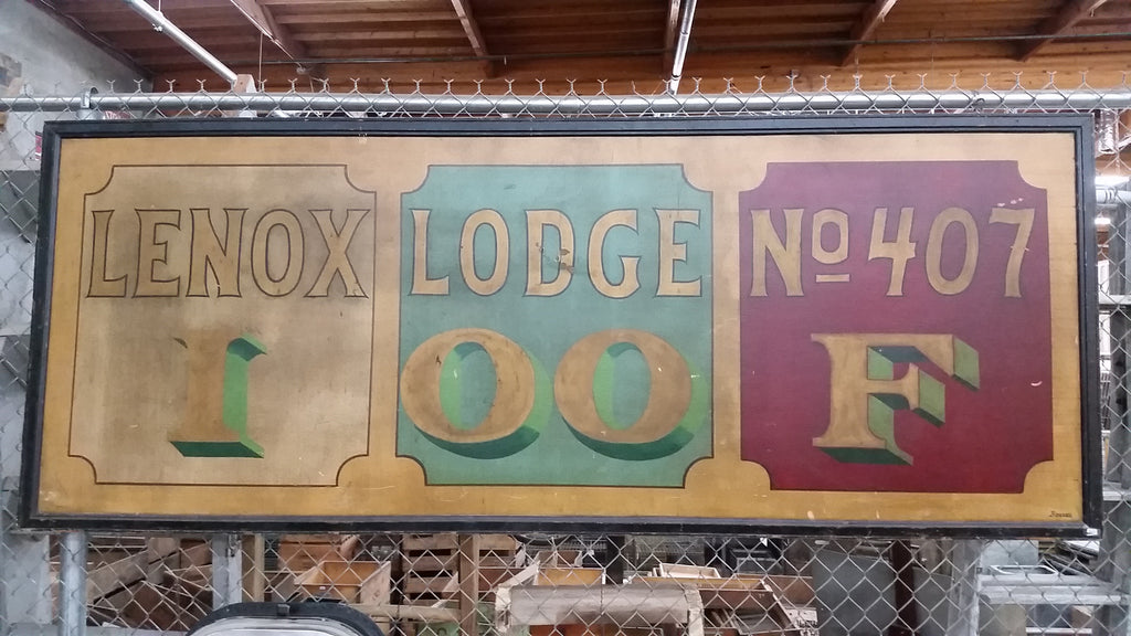 Hand Painted Lenox Lodge No.407 Sign