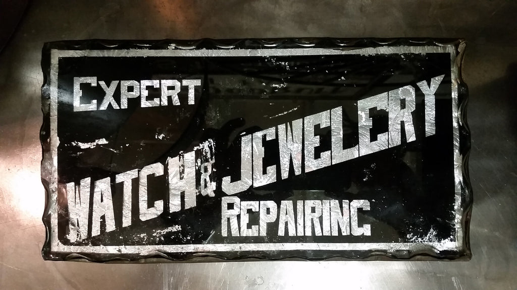 Expert Watch & Jewelry Repairing Glass Sign
