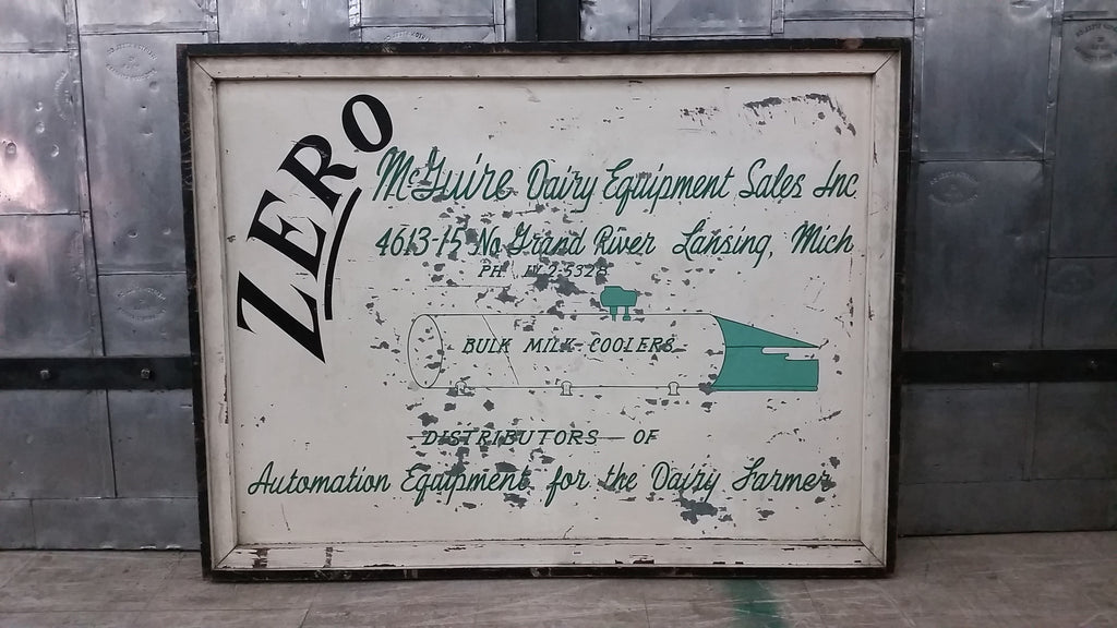 "Sign, ""Zero McGuire Dairy Equipment Sales""  double sided sign"