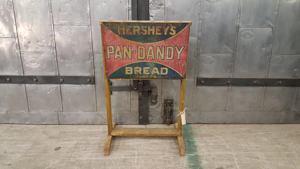 Hershey's Pan Dandy Bread Sign, Metal on Wood Stand