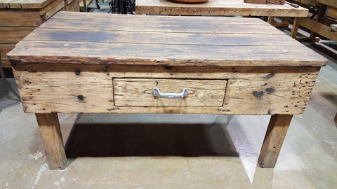 1 Drawer Antique Wood Island Work Table