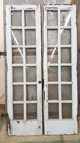 Pair of 15 Pane French Doors