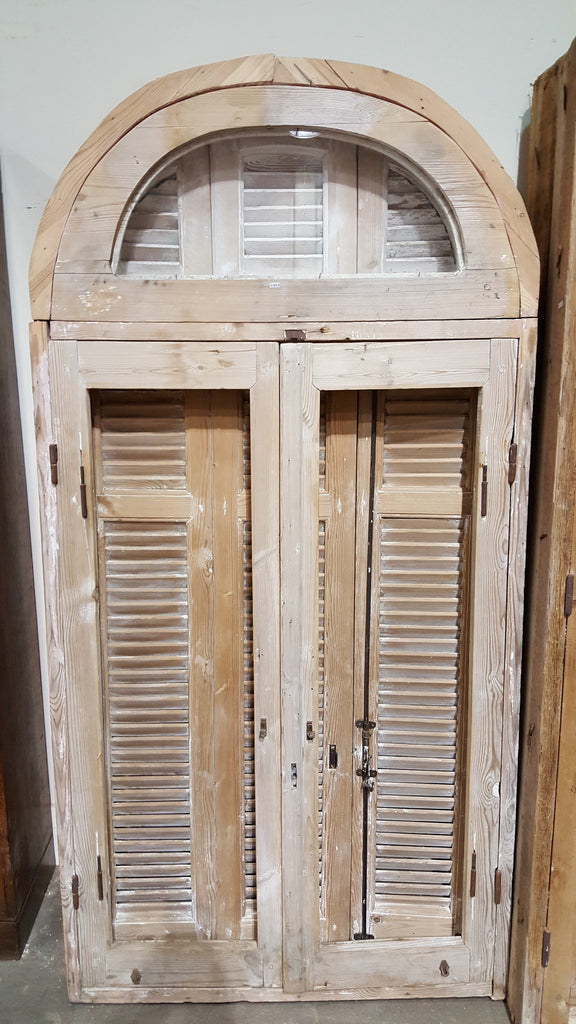 3 Pane Natural Wood Window, Transom, and Shutter Set