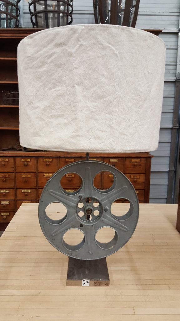 Repurposed Film Reel Table Lamp
