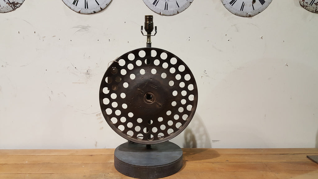 Repurposed Industrial Iron Wheel Table Lamp