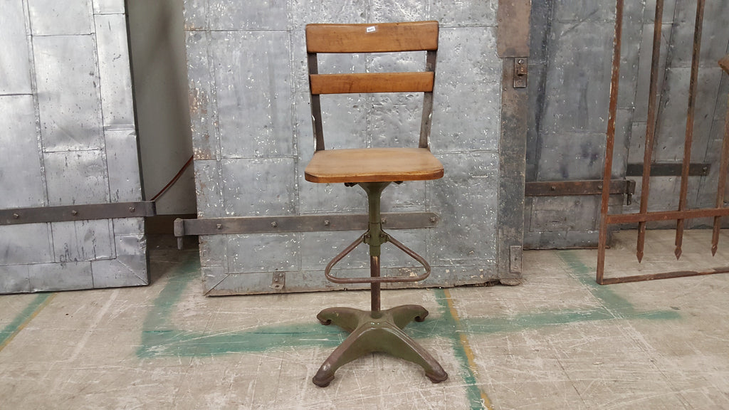 Wood and Metal Barstool with Foot Rest