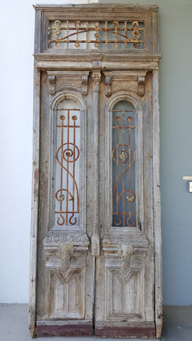 Architectural Pair of Doors with Transom