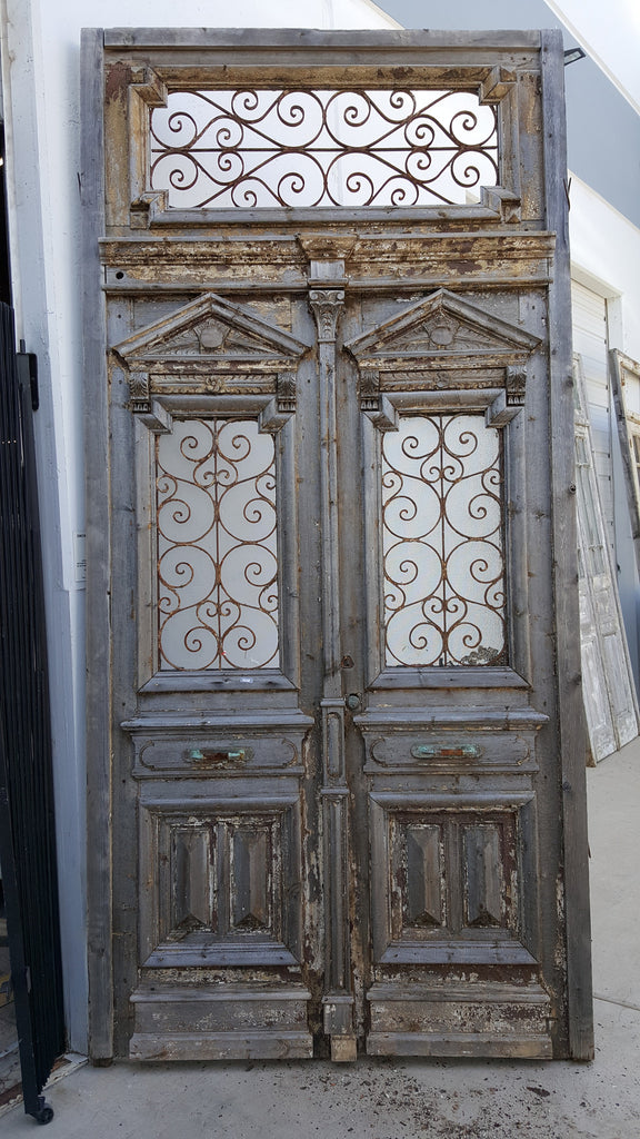 Architectural Pair of Doors with Iron Transom