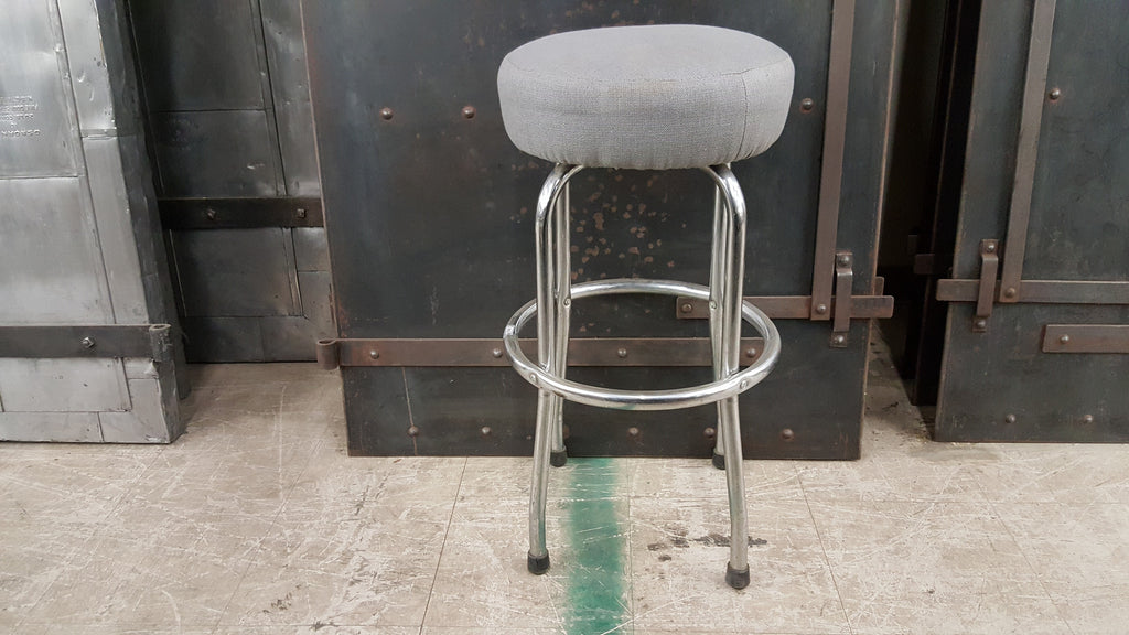 Chrome Bar Stool with Gray Upholstered Seat