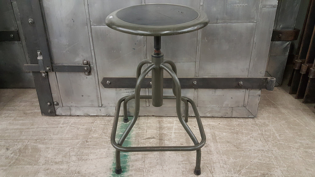 Stool, metal with round inset, 4 legs with bar wrap around