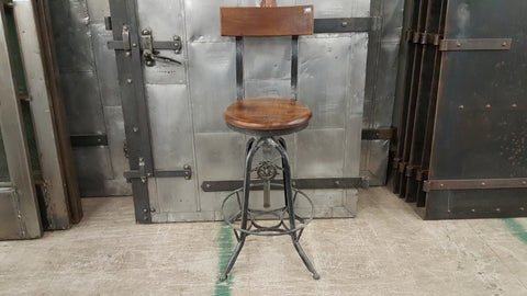 Iron and Wood Bar Stool with Back