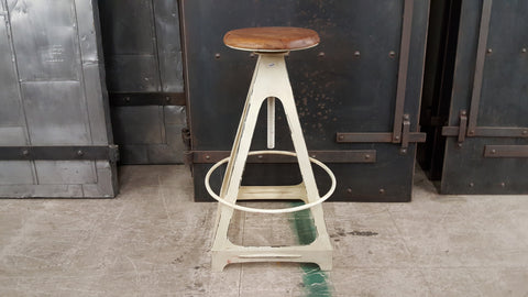 White with Wood Top Bar Stool