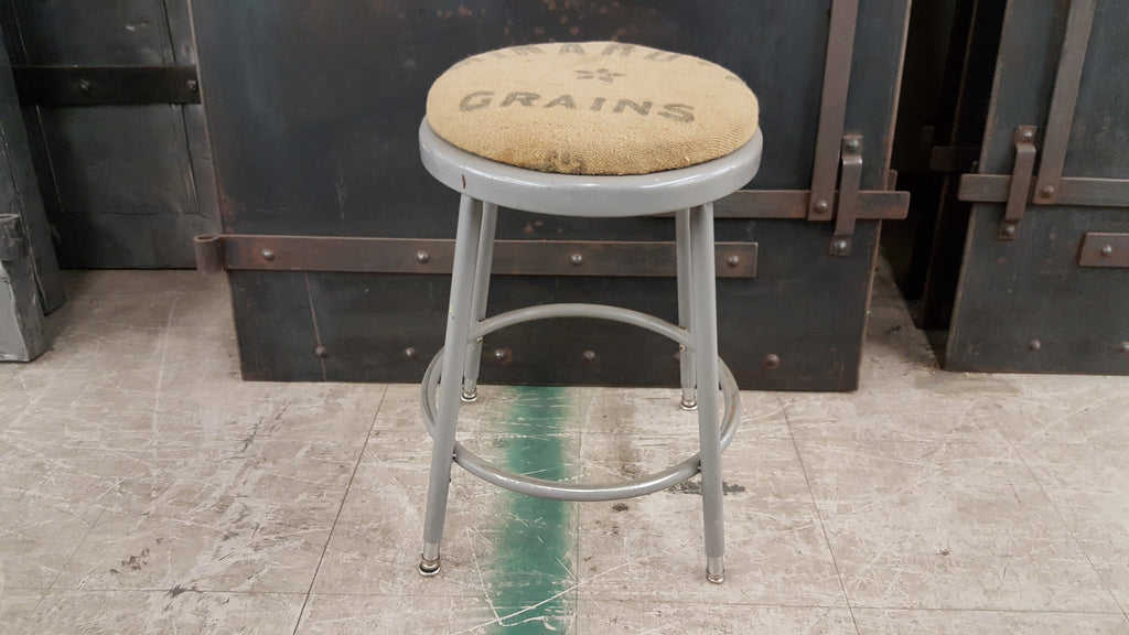 stool, round, metal, vintage cushion