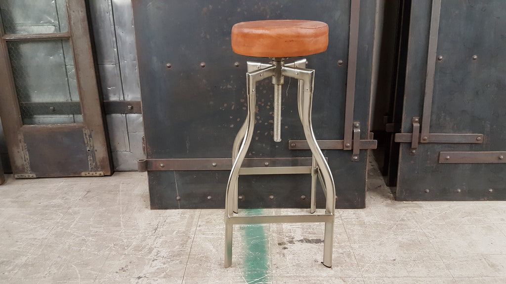 Nickel Finish Bar Stool with Swiveling Leather Seat; Large