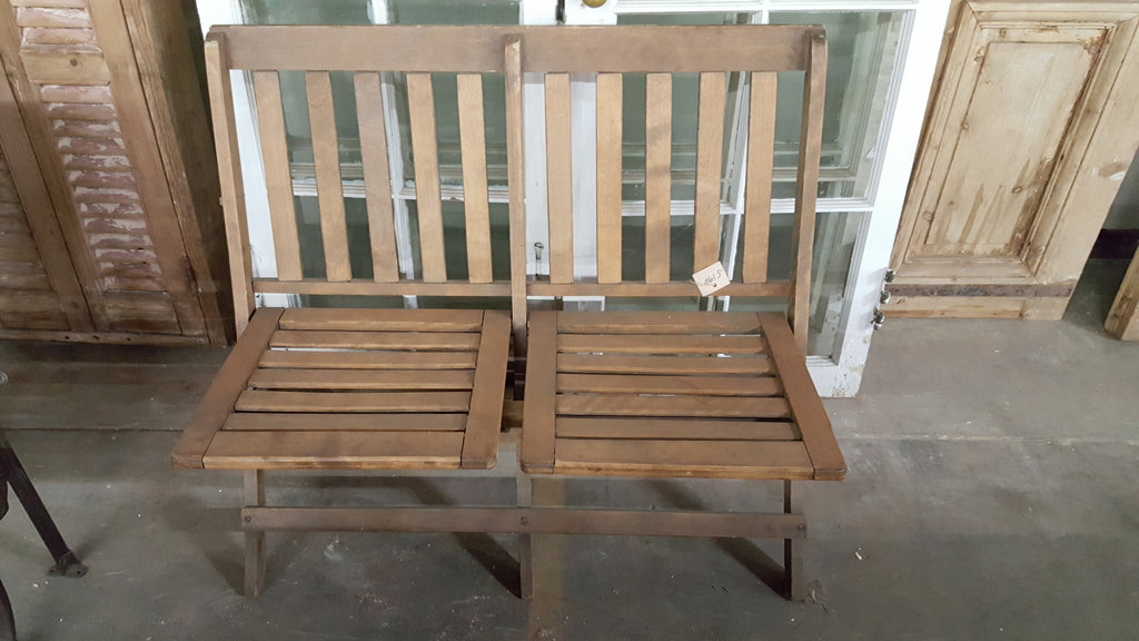 Folding Slat Back Bench