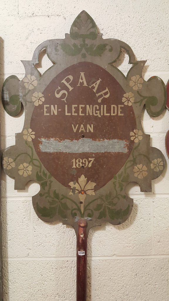 "Dutch ""Savings and Loan Guild"" Parade Shield Metal Sign on Wooden Pole"