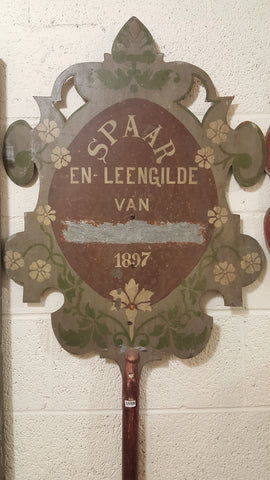 Metal Sign on Wood Pole Sign, Dutch Parade Shield