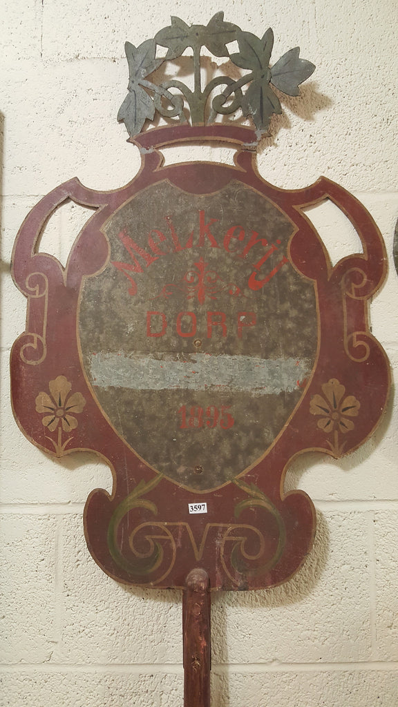 "Dutch ""Dairy Village"" Parade Shield Metal Sign on Wooden Pole c.1895"