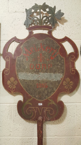 Metal Sign on Wood Pole, Dutch Parade Shield c.1895