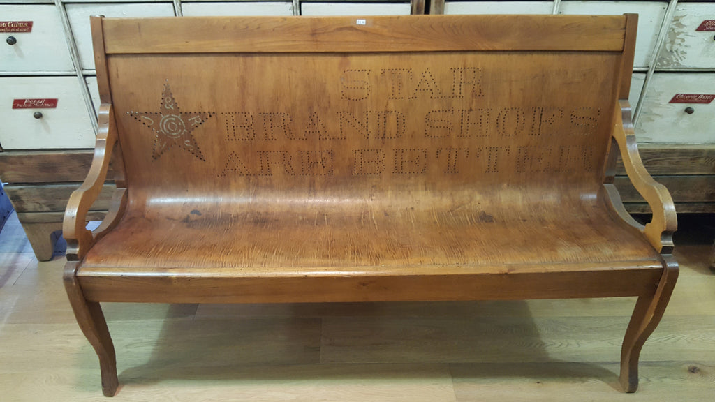 "Wooden ""Star Brand Shoes"" Bench"