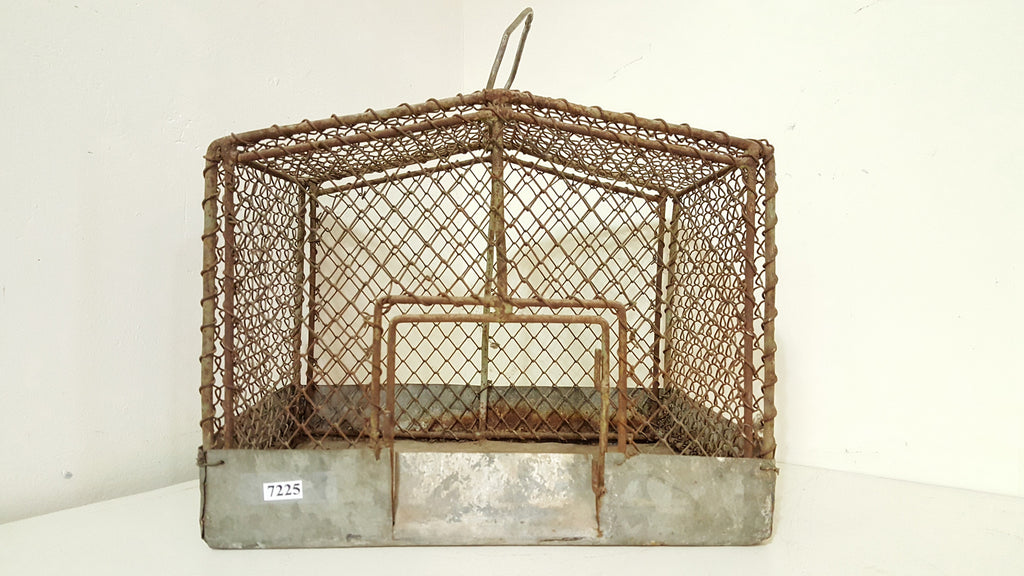 Wire and Galvanized Metal Bird Cage