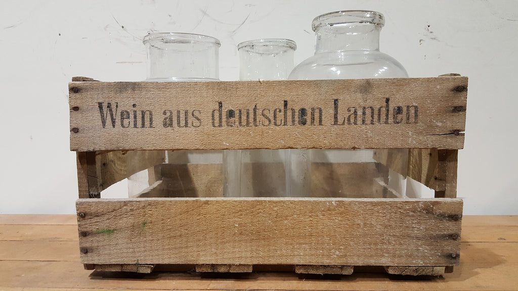 German Wooden Crate with 3 bottles
