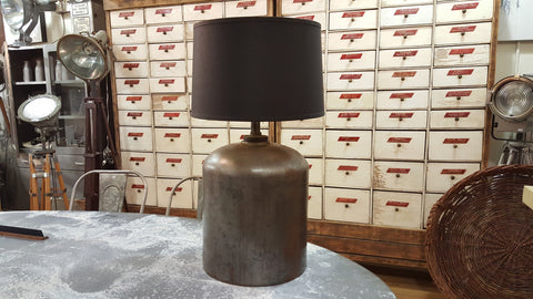 Shell Oil Iron Tank Repurposed into a Light/Lamp with Black Shade