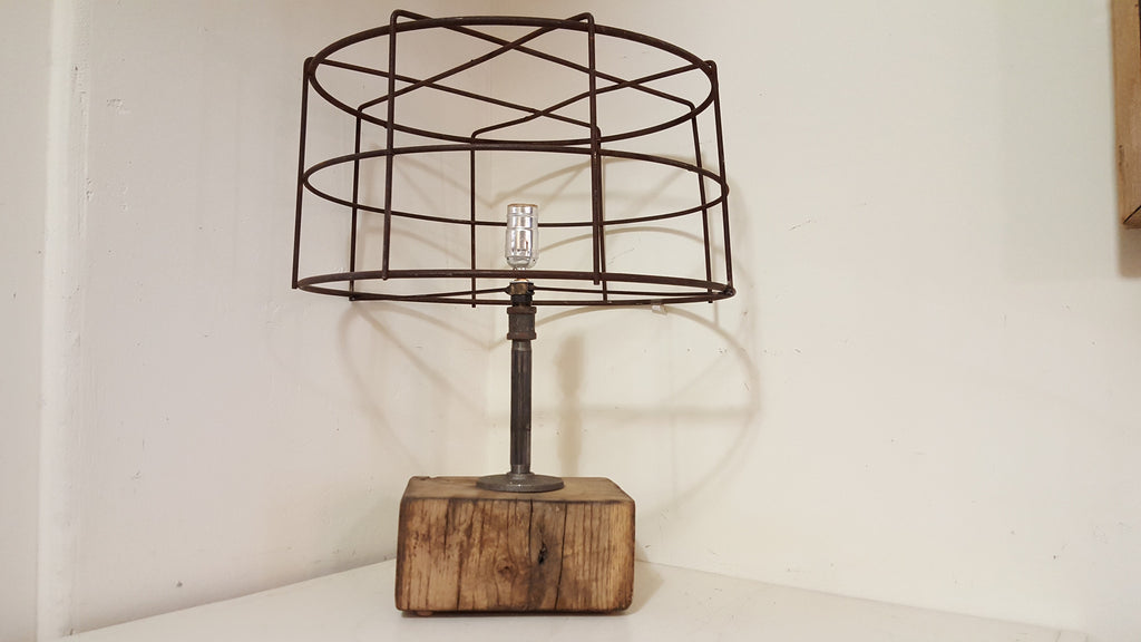 Repurposed Industrial Wire Table Lamp