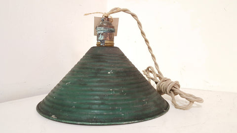 Green Ridged Metal Pendant Light