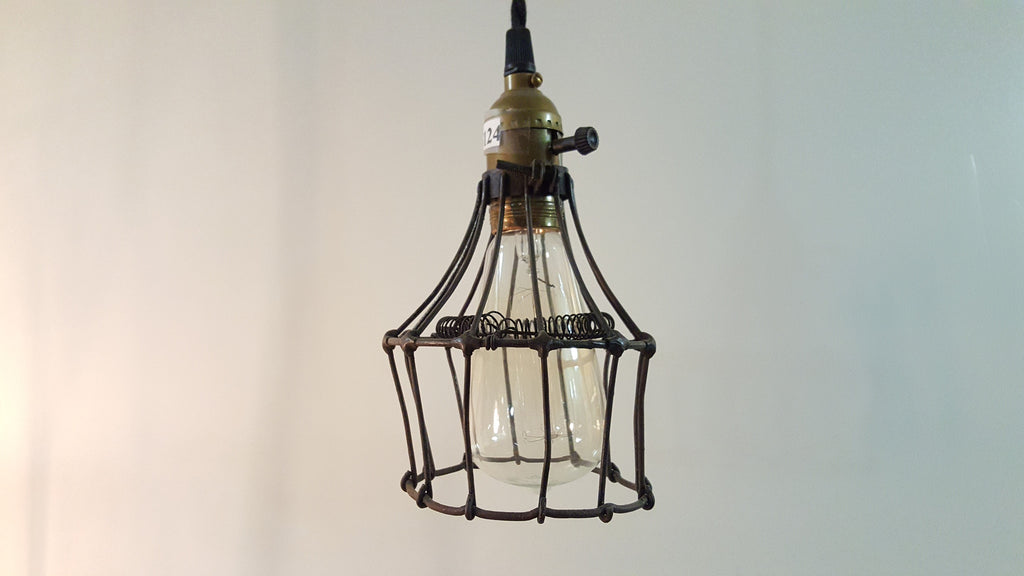 Antique French Caged Pendant Light