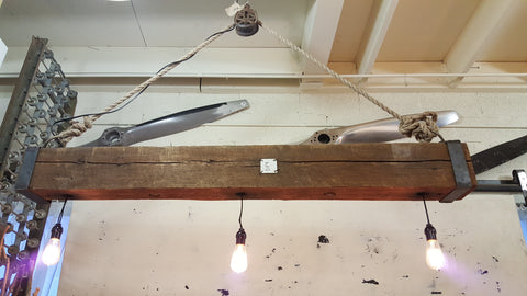 Barn Beam Hanging Light with Pulley and Rope